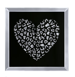 decorative Wood and Mirror Heart Wall Art, Black and Clear