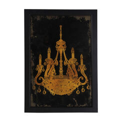 Rectangular Shaped Chandelier Wall Art, Yellow and Black