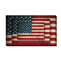 Rectangle 3 Tier Stacked Wall Art with US Flag Print, Set of 2, Multicolor