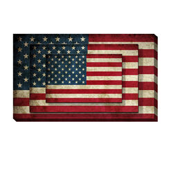 Rectangle 3 Tier Stacked Wall Art with US Flag Print, Set of 4, Multicolor