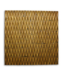 Modern Style Wooden Wall Decor with Patterned Carving, Small, Gold