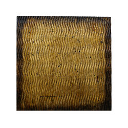 Modern Style Wood Wall Decor with Patterned Carving, Small, Gold & Brown