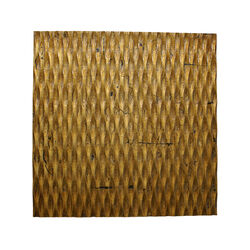 Modern Style Wooden Wall Decor with Patterned Carving, Large, Gold