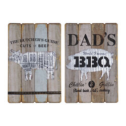 2 Piece Slated Plaques with Butchery and Barbeque Graphics, Brown and Black