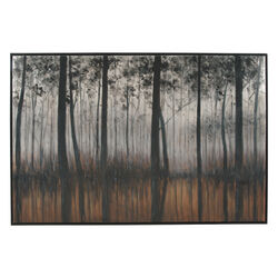 Wood and Canvas Forest Wall Art, Black, Orange and Silver