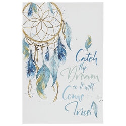 Dream Catcher and Script Print Canvas Wall Art with Wooden Frame,Multicolor