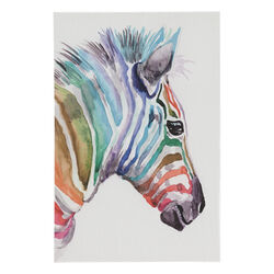 Zebra Print Canvas Wall Art Wooden Frame, Multicolor