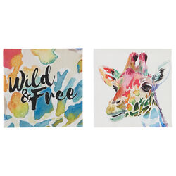 Giraffe and Script Canvas Wall Art with Wooden Frame, Multicolor, Set of 2