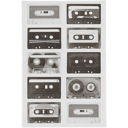 Cassette Tapes Canvas Wall Art with Wooden Frame, Black and White