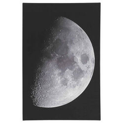 Wood and Canvas Moon Wall Art, Black and White