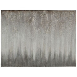 Wood and Canvas Abstract Wall Art, Silver and Gray