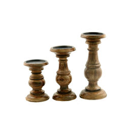 Pillar-Shaped Candle Holders, Set of 3