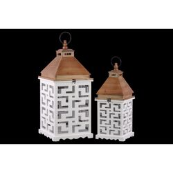 Wood Square Lantern with Lattice Design Body Set of 2 - White - Benzara