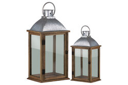 Wooden Lantern With Metal Top, Set Of 2, Natural Brown And Gray