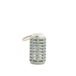 Lattice Cutout Patterned Ceramic Lantern with Rope Handle, White and Gray