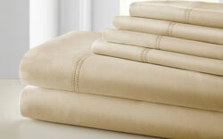 Tours 6 Piece Cotton Queen Size Sheet Set with Double Hem The Urban Port, Beige