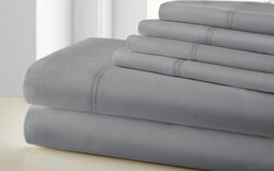Tours 6 Piece Cotton King Size Sheet Set with Double Hem The Urban Port, Gray