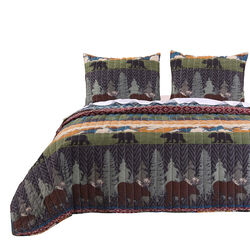 3 Piece King Size Quilt Set with Nature Inspired Print, Multicolor