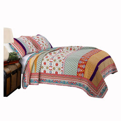 Geometric and Floral Print Twin Size Quilt Set with 1 Sham, Multicolor