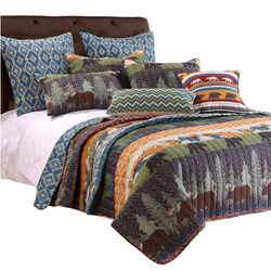 5 Piece King Size Quilt Set with Nature Inspired Print, Multicolor