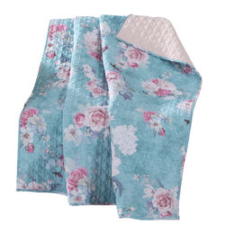 60 x 50 Inches Polyester Throw Blanket with Floral Print, Blue and White