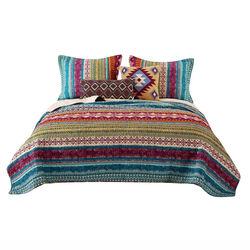 Tribal Print Twin Quilt Set with Decorative Pillows, Multicolor