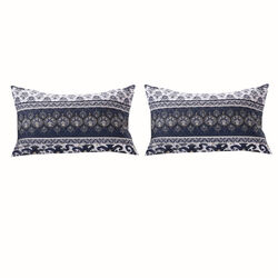 36 x 20 Fabric King Pillow Sham with Ikat and Floral Motif, White and Blue - BM223392