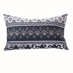 26 x 20 Fabric Pillow Sham with Ikat and Floral Motif, White and Blue - BM223393