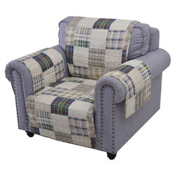 Waterproof Lining Arm Chair Protector with Plaid Square Design, Multicolor - BM223408