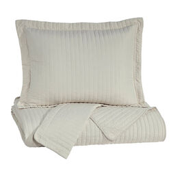 3 Piece Fabric King Coverlet Set with Stitched Ribbing Texture, Cream