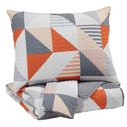 2 Piece Fabric Twin Coverlet Set with Geometric Print, Gray and Orange
