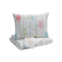 3 Piece Fabric Full Coverlet Set with Little Owls Print, Multicolor