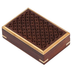 Benzara Mango Wood Jewelry/ Storage Box With Detailed Pattern, Brown