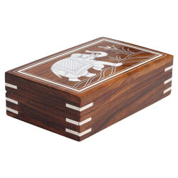 Benzara Handmade Mango Wood Jewelry Box With Elephant Design, Brown