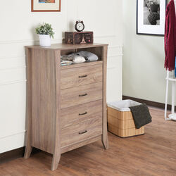 Wooden Chest with Four Drawers & One Open Shelf, Natural Brown