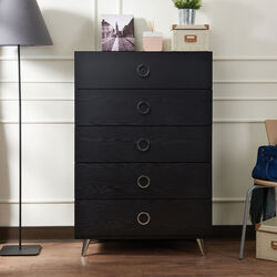Five Drawers Wooden Chest In Contemporary Style, Black