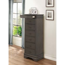 6 Drawer Wooden Lingerie Chest With Pull Out Tray, Gray