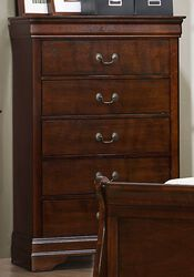 5 Drawer Wooden Chest With Metal Hardware, Cherry Brown