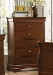 Transitional Style Wooden Chest With 5 Drawers, Cherry Brown