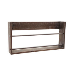 Transitional Style Metal and Wooden Magazine Rack, Brown