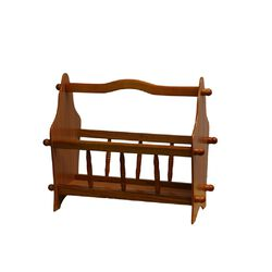 14 Inches Wooden Magazine Rack with Turned Slats on Side Rails, Oak Brown