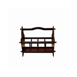 Wooden Magazine Rack with Top Curved Handle, Cherry Brown