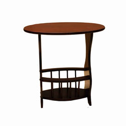 Wooden Magazine Rack with Round Top Shelf, Cherry Brown