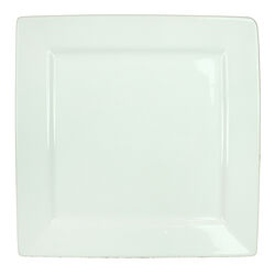 Well Designed Square Shape Ceramic Plate with Curved Rims, White