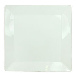 Uniquely Designed Square Shape Ceramic Plate with Curved Rims, Glossy White