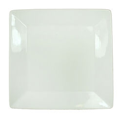 Finely Designed Square Shape Ceramic Plate with Curved Rims, White
