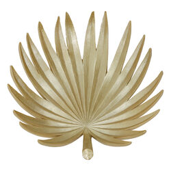 Polyresin Decorative Plate with Palm Leaf Design, Gold