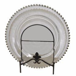 Splendid Silver Big Beaded Glass Charger Plates