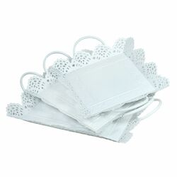 Metal Tray With Cutout Design, Set Of 3, White