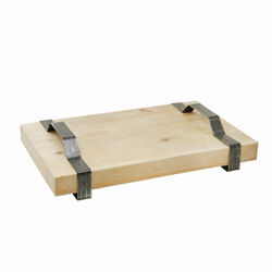 Wooden Decorative Rectangular Tray with Metal Handles, Beige